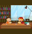 boys learning in library vector image vector image