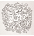 Cartoon cute doodles hand drawn 2017 year vector image
