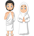 cartoon muslim man and woman wearing ihram vector image vector image
