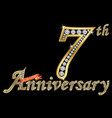 celebrating 7th anniversary golden sign with vector image vector image