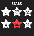 character star six emotions cartoon black and vector image vector image