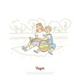 cheerful vegan mother with son family outdoor vector image