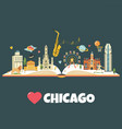chicago city poster with landmarks and symbols vector image