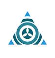 circular flower inside triangle symbol logo design vector image vector image
