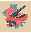Classic revolvers and roses emblem vector image vector image