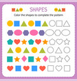 color the shapes to complete the pattern learn vector image