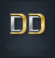d and - initials dd - metallic 3d icon vector image