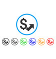 dollar growth rounded icon vector image vector image