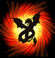 dragon in whirlpool of fire vector image vector image