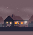 flat night forest with house vector image vector image