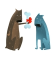 Funny Dog in Love Presenting Bone to Friend vector image