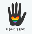 gay poster with rainbow heart lgbt concept vector image