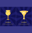 golden trophy cup for champion vector image vector image