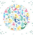 greeting banner on the marine theme cute mermaids vector image vector image