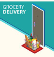 grocery delivery online concept door with vector image