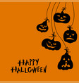 halloween funny horror pumpkins greeting card vector image vector image