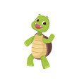 happy cute smiling green turtle walking on two vector image vector image