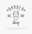 hipster logo for barber shop with bearded man vector image vector image
