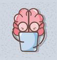 icon adorable kawaii brain reading book