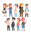 kids various professions set maid coach vector image vector image