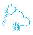 line cute cloud with sun and raining natural vector image vector image