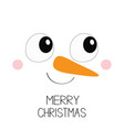 merry christmas snowman square face icon big eyes vector image