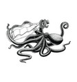 octopus holding bottle hand drawing vintage clip vector image