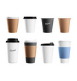 paper cup mockup brown eco mug template vector image