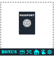 Passport icon flat vector image vector image