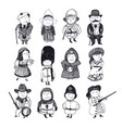 people in historical and traditional costumes vector image vector image