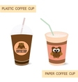 Plastic and paper coffee cups vector image vector image