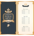 royal menu for restaurant vector image vector image