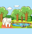 scene with polar bear in forest vector image vector image