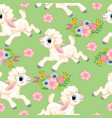 seamless pattern lambs on green background vector image vector image