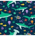 Seamless pattern with cute cartoon sharks vector image vector image
