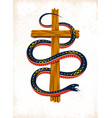 serpent on a cross vintage tattoo snake wraps vector image vector image
