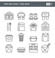 Set with thin line icons Take away vector image vector image