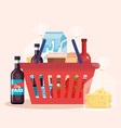 shopping basket with products vector image