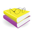 spectacles and two books on a white background vector image vector image