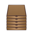 stack boxes for pizza colored objects vector image vector image