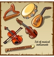 String and wind musical instruments six icons vector image vector image
