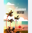 sunset tropical palm beach balls view summer vector image vector image