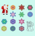 two santa claus in different styles color and vector image vector image