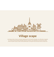Village scape thin flat design