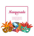 with masks and party accessories vector image vector image