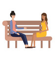 women sitting in park chair avatar character vector image