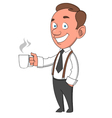 worker with mug vector image vector image