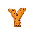y letter cookies cookie font oatmeal biscuit vector image vector image