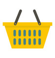 yellow plastic shopping basket icon isolated vector image