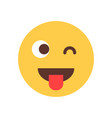 yellow smiling cartoon face show tongue wink emoji vector image vector image